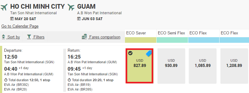 Tham khảo hành trình bay từ TP HCM đi Guam