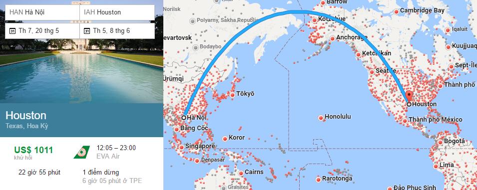 Tham khảo hành trình bay từ Hà Nội đi Houston