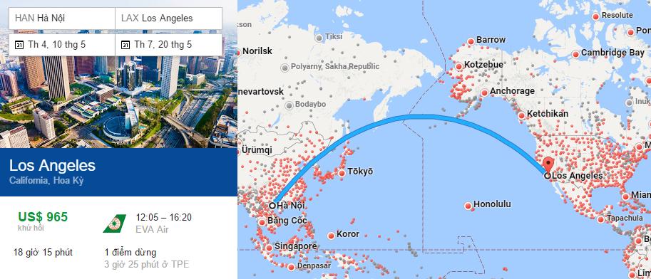 Tham khảo hành trình bay từ Hà Nội đi Los Angeles