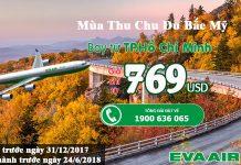Vé đi Bắc Mỹ chỉ từ 769 USD.