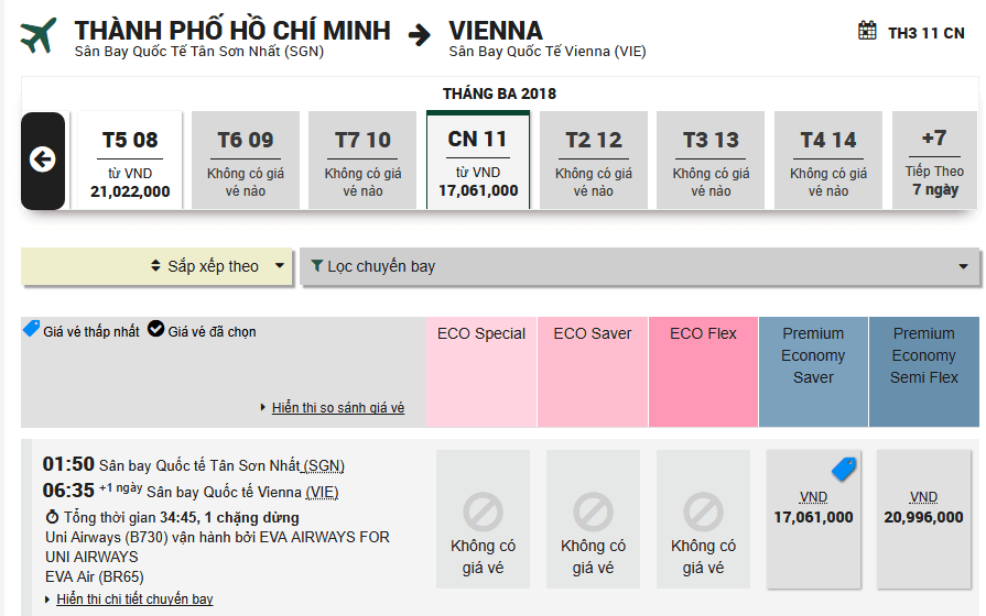 Mẫu đặt vé từ TP.HCM - Vienna