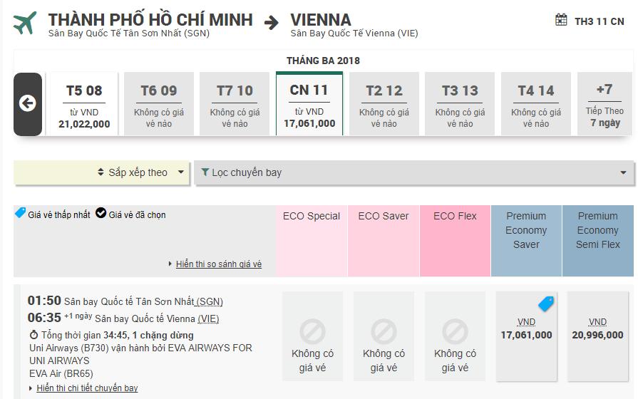 Mẫu đặt vé từ Vienna - TP. HCM