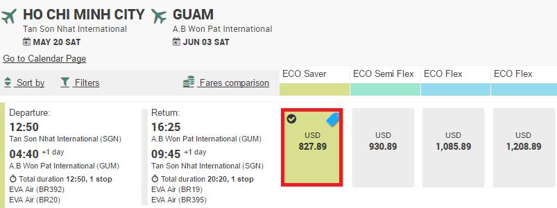 Giá vé máy bay đi Guam
