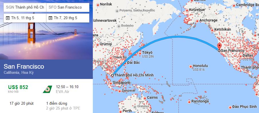 Tham khảo hành trình bay từ TPHCM đi San Francisco