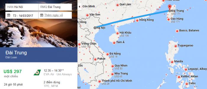 Bản đồ đường bay chặng Hà Nội - Đài Trung, Đài Loan