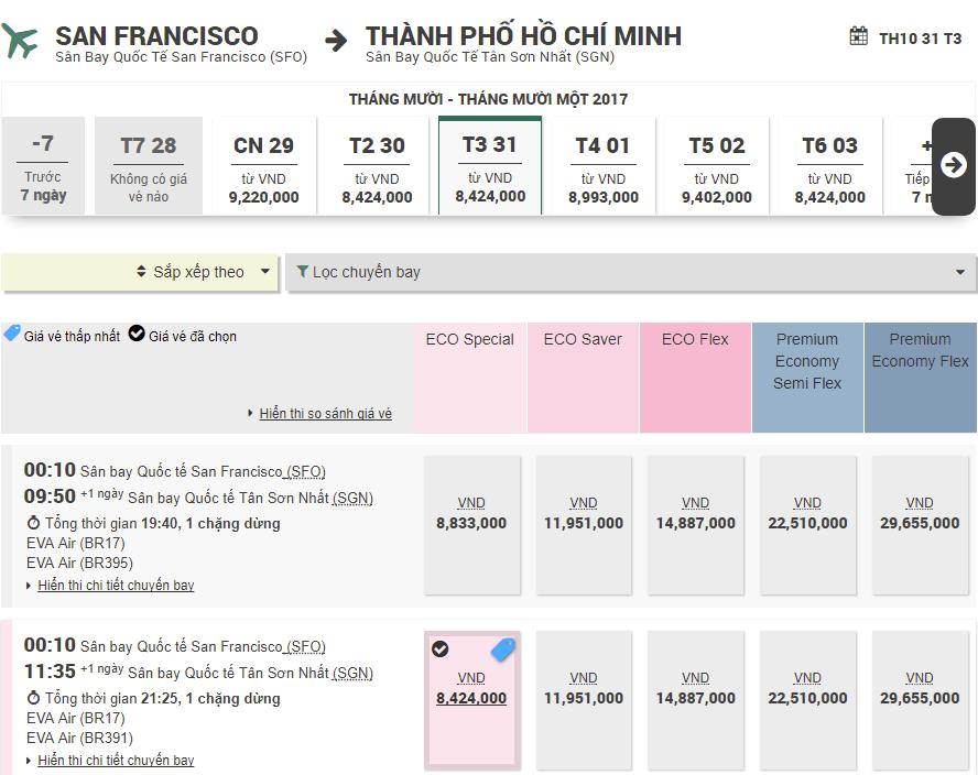 Vé Eva Air từ San Francisco về Hồ Chí Minh giá rẻ
